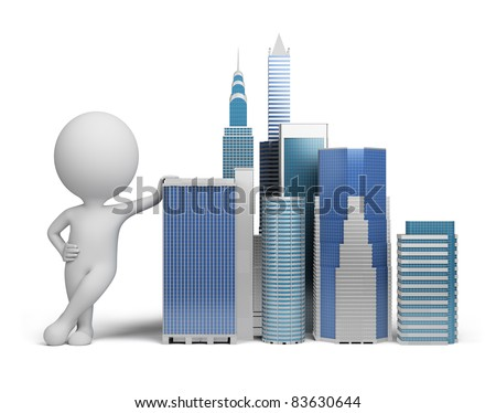 3d small person standing next to skyscrapers. 3d image. Isolated white background.