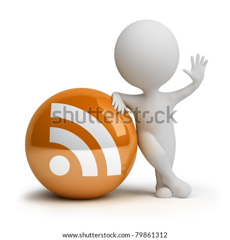 3d small person standing next to the rss icon. 3d image. Isolated white background.