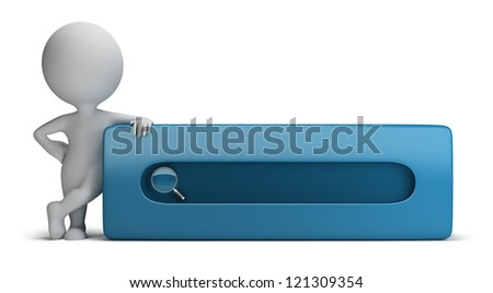 3d small person standing next to the search bar. 3d image. Isolated white background.