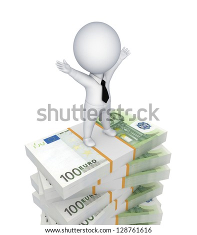 3d small person standing on a stack of euro.Isolated on white background.