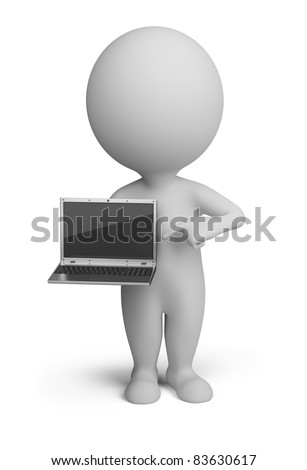 3d small person standing with a laptop in the hands of. 3d image. Isolated white background.