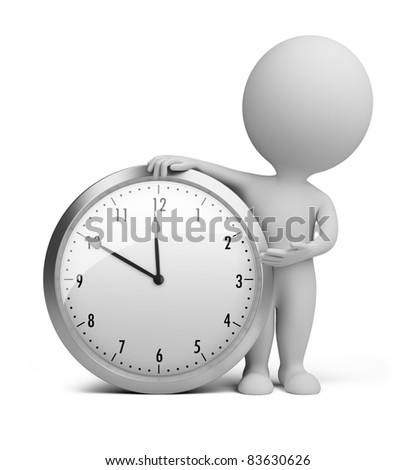 3d small person stands next to the clock. 3d image. Isolated white background.