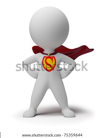 3d small person the superhero standing in a confident pose in a raincoat. 3d image. Isolated white background.