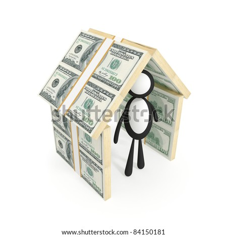 3d small person under a roof made of money. 3d rendered. Isolated on white background.