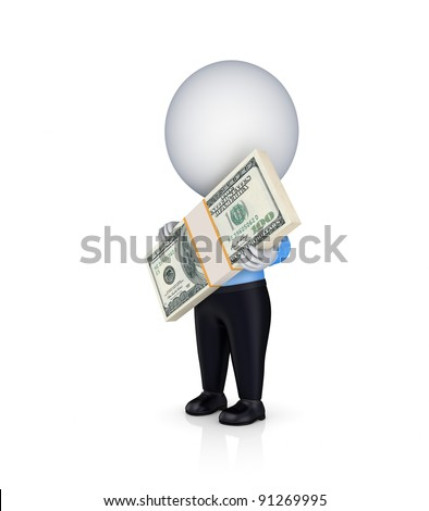 3d small person with a big stack of dollars in a hands.Isolated on white background.