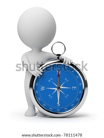 3d small person with a compass. 3d image. Isolated white background.