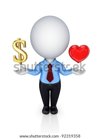 3d small person with a dollar sign and red heart.Isolated on white background.