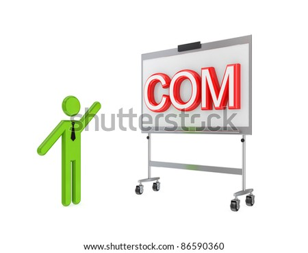 3d small person with a flipchart and big word COM.Isolated on white background.