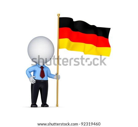 3d small person with a German flag in a hand.Isolated on white background.