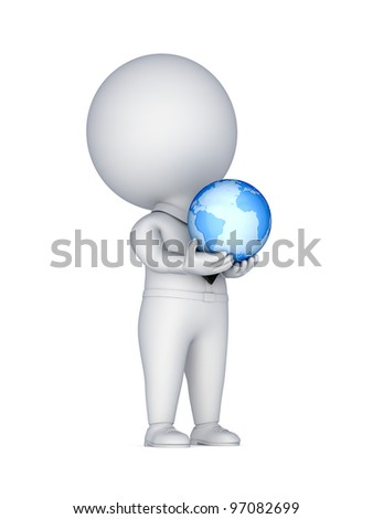 3d small person with a globe in a hands.Isolated on white background.3d rendered.