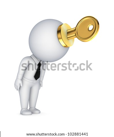 3d small person with a golden key in a hands.Isolated on white background.