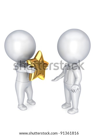 3d small person with a golden star in a hands.Isolated on white background.