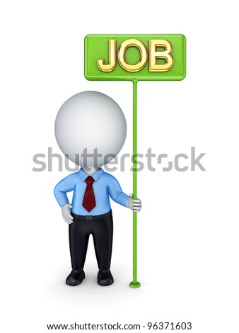 3d small person with a green bunner JOB.Isolated on white background.