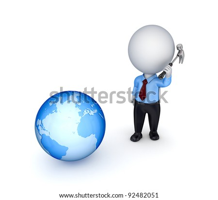 3d small person with a hammer in a hand and earth.Isolated on white background.
