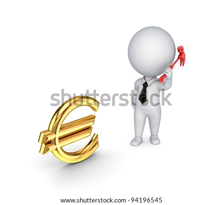 3d small person with a hammer in a hand and euro sign.Isolated on white background.