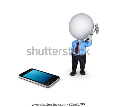 3d small person with a hammer in a hand and mobile phone.Isolated on white background.
