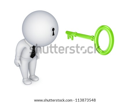 3d small person with a keyhole in a head.Isolated on white background.3d rendered.