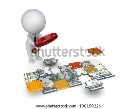 3d small person with a loupe and dollar made of puzzles.Isolated on white background.