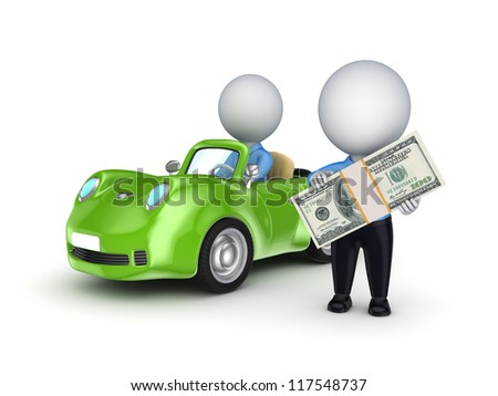 3d small person with a pack of dollars and green car.Isolated on white background.