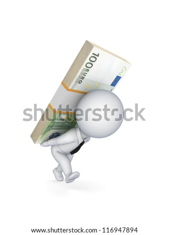 3d small person with a pack of euro on the back.Isolated on white background.