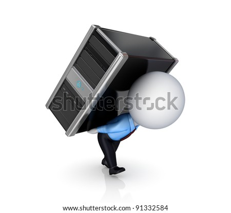 3d small person with a PC.Isolated on white background. 3d rendered.