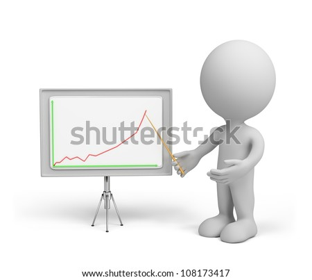 3d small person with a pointer in his hand and chart. 3d image. Isolated white background.