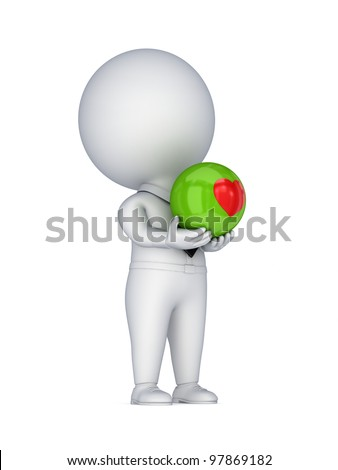 3d small person with a red heart in a hands.Isolated on white background.