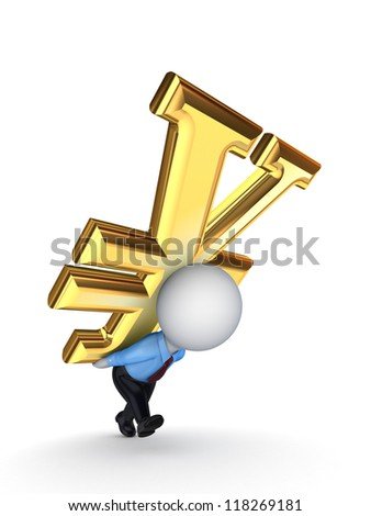 3d small person with a sign of dollar on the back.Isolated on white background.