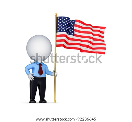 3d small person with american flag in a hand.Isolated on white background.