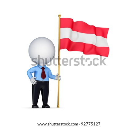 3d small person with an Austrian flag in a hand.Isolated on white background.