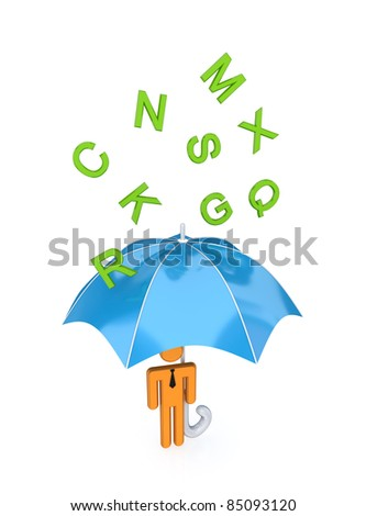 3d small person with big umbrella under the rain of letters.Isolated on white background.
