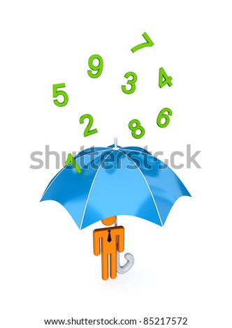 3d small person with big umbrella under the rain of numbers.Isolated on white background.