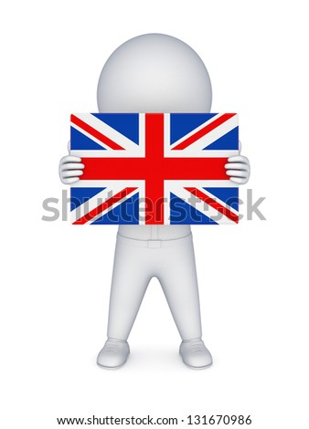 3d small person with british flag.Isolated on white background.