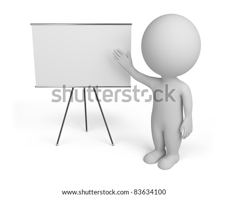 3d small person with empty board. 3d image. Isolated white background.