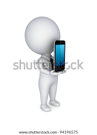 3d small person with modern mobile phone in a hands. Isolated on white background.