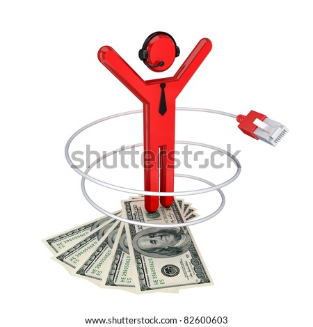 3d small person with patchcord and dollars. Isolated on white background.