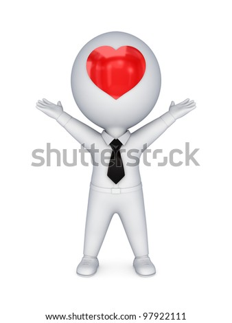 3d small person with red heart on a face.Isolated on white background.