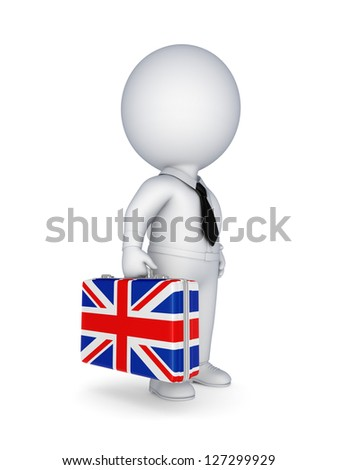 3d small person with suitcase with flag of England.