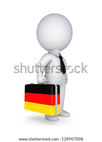 3d small person with suitcase with flag of Germany.
