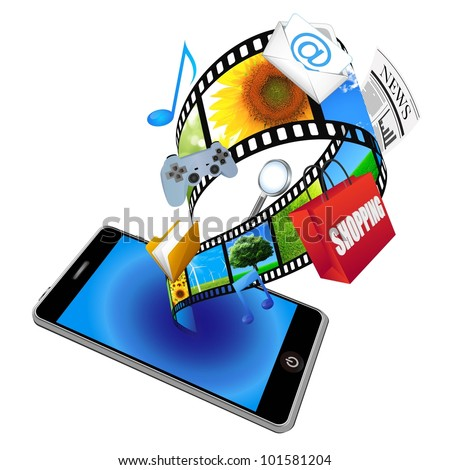 3d smart phone with many application icons