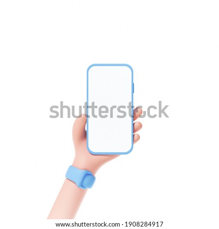 3D Smartphone holding on isolate white background. phone screen for template replacement, cartoon hand. 3d render illustration.