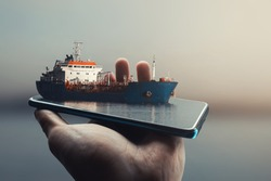 3D Smartphone Pop Out Effect which contains a ship on Danube River. Digital art.