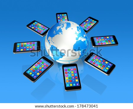 3D Smartphones Around World Globe, isolated on blue - Global Communication Concept