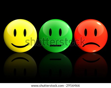 3D Smiley icons or badge for describing satisfaction level - stock photo