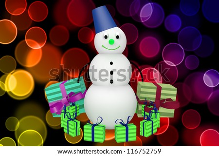 3d snowman with bucket and presents on color bokeh background