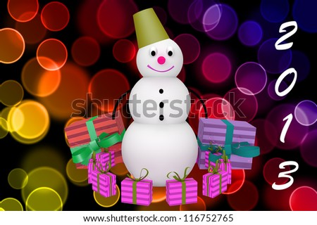 3d snowman with bucket, presents and mark 2013 on color bokeh background