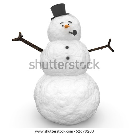 3d snowman with hat and pipe  isolated on white