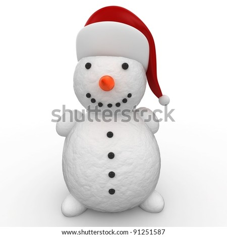3d snowman with red hat  on white background