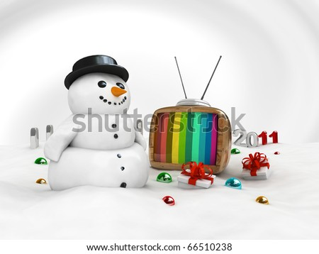 3d snowman with vintage tv and xmas gifts isolated
