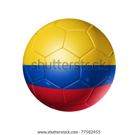 3D soccer ball with Colombia team flag. isolated on white with clipping path. Brazil 2014